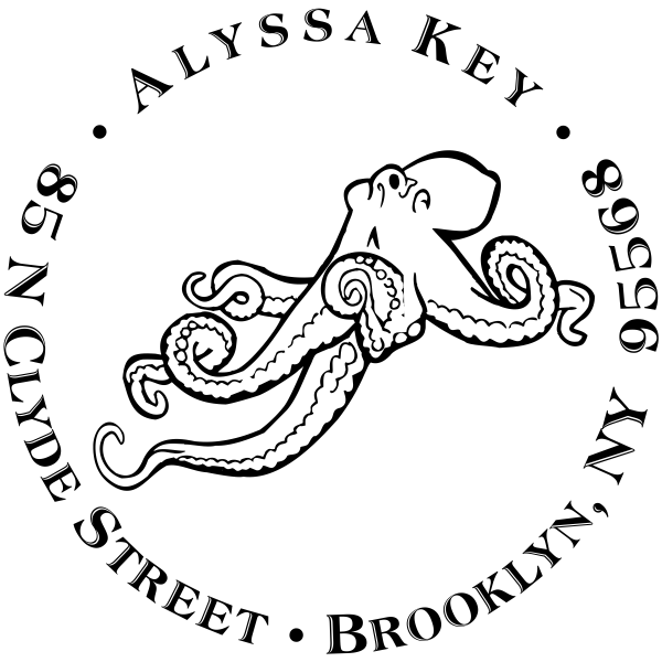 Octopus Round Address stamp