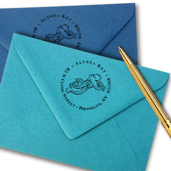 Floating Octopus Return Address Stamp Imprint Example