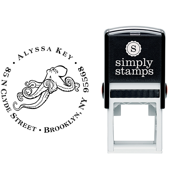 Floating Octopus Return Address Stamp Body and Design