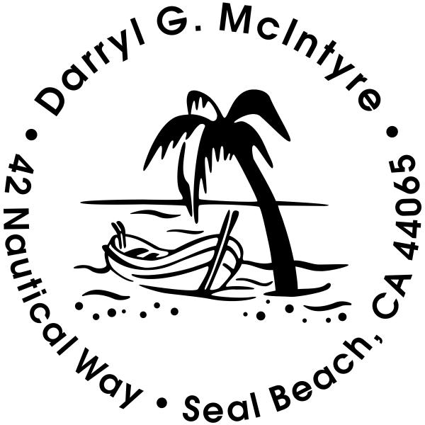 Row Boat Palm Tree Address Stamp