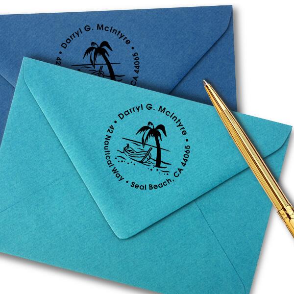 Row Boat Palm Tree Address Stamp Imprint Example
