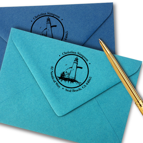 Lighthouse on Shore Round Address Stamp Imprint Example