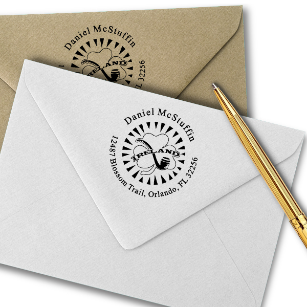 Ireland Shamrock Pipe Address Stamp Imprint Example