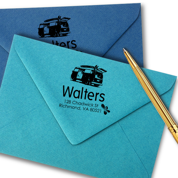 Retro Van Return Address Stamp Imprint Example