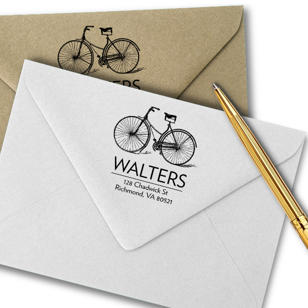 Retro Vintage Bicycle Return Address Stamp Imprint Example
