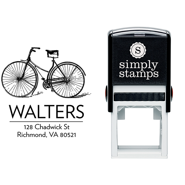Retro Vintage Bicycle Return Address Stamp Body and Design