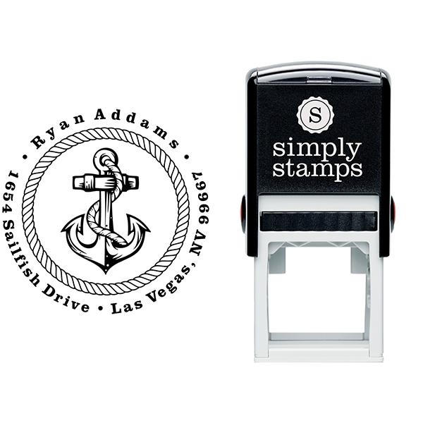 Nautical Rope and Anchor Custom Address Stamp Body and Design