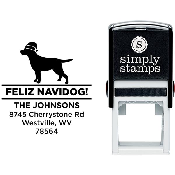 Feliz Navidog Labrador Holiday Address Stamp