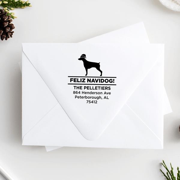 Feliz Navidog Pointer Holiday Address Stamp