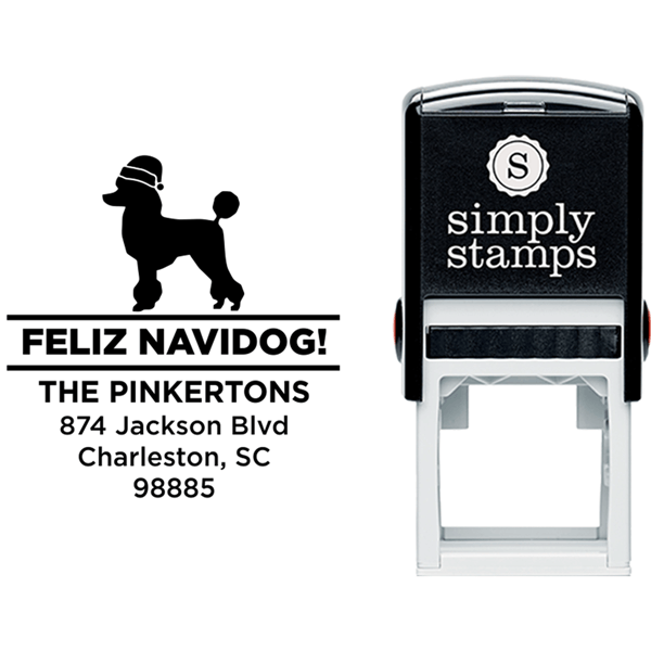 Feliz Navidog Poodle Holiday Address Stamp