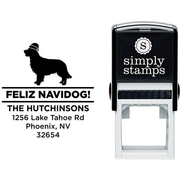 Feliz Navidog Retreiver Holiday Address Stamp