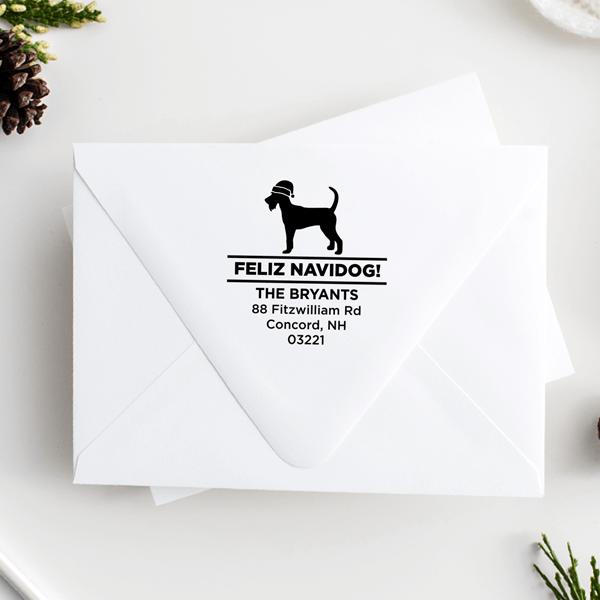 Feliz Navidog Schnauzer Holiday Address Stamp