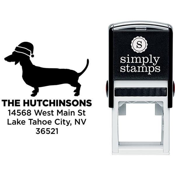 Daschund Dog With Santa Hat Holiday Address Stamp