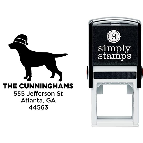 Labrador Dog With Santa Hat Holiday Address Stamp