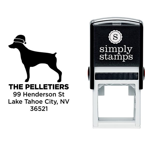 Pointer Dog With Santa Hat Holiday Address Stamp