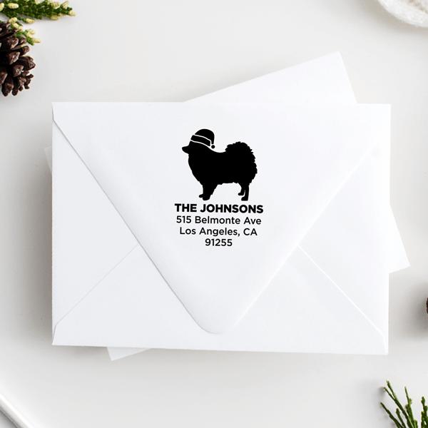 Pomeranian Dog With Santa Hat Holiday Address Stamp