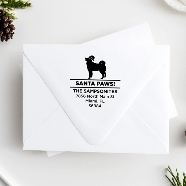 Santa Paws Husky Holiday Address Stamp