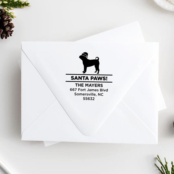 Santa Paws Pug Holiday Address Stamp