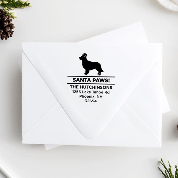 Santa Paws Retriever Holiday Address Stamp