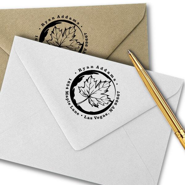 Fall Maple Leaf Custom Address Stamp Imprint Example