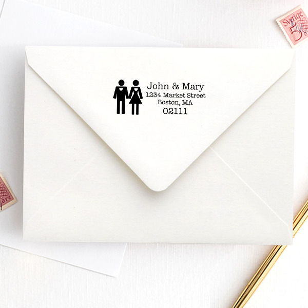 Married Couple Icon Return Address Stamp Imprint Example