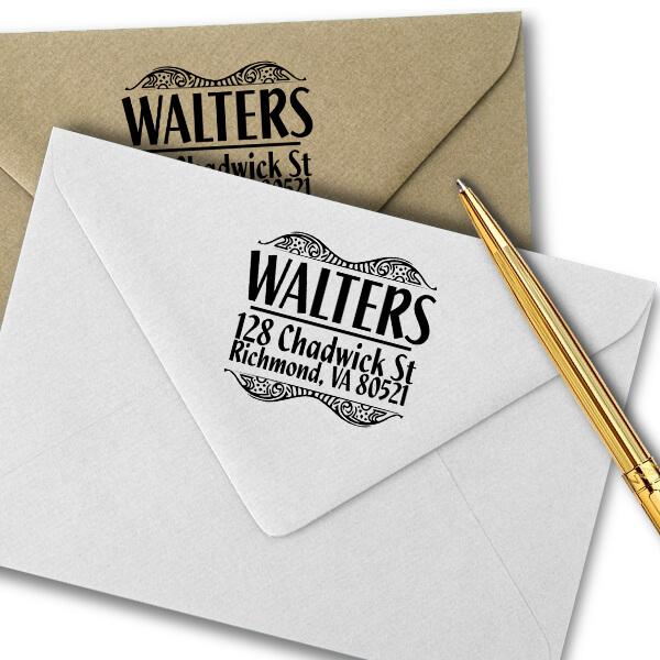 Bold Artistic Curves Return Address Stamp Imprint Example