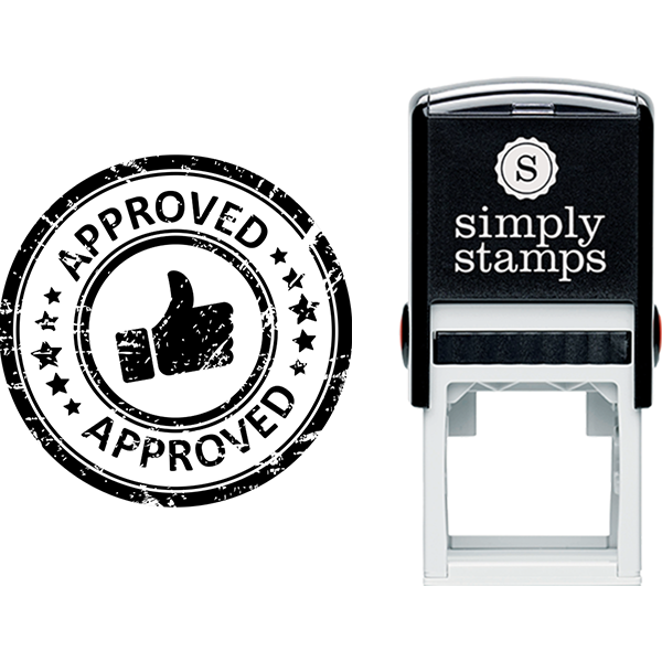 Approved with Thumbs Up Business Stamp