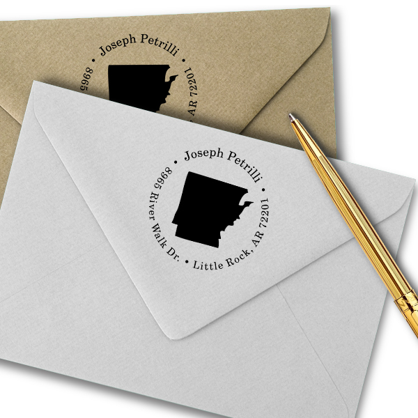Arkansas Round Address Stamp Imprint Example