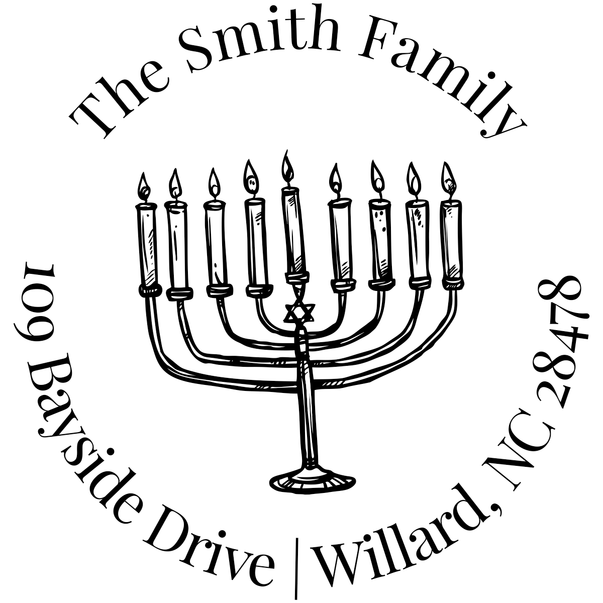Menorah Round Custom Hanukkah Address Stamp