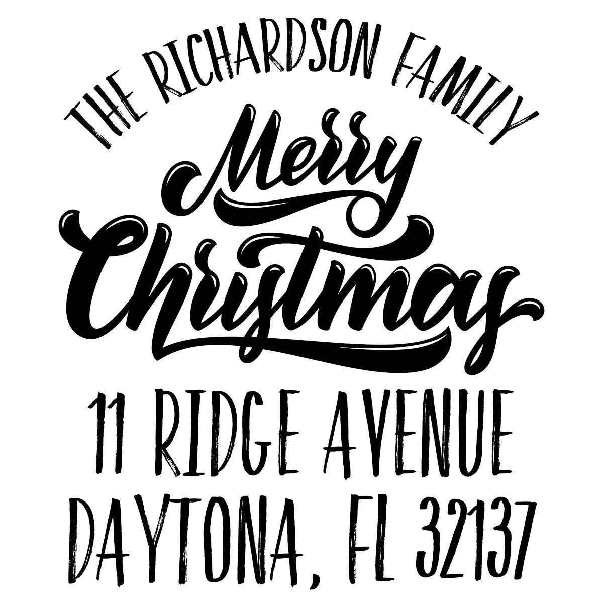 Classic Merry Christmas Custom Holiday Address Stamp