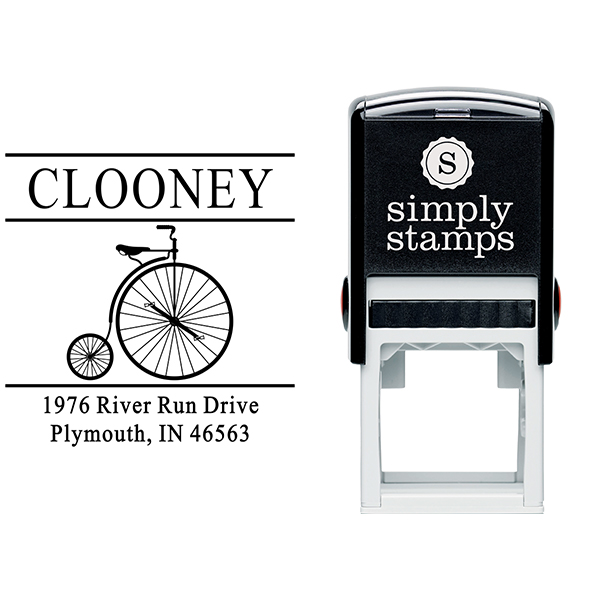 Clooney Vintage Bicycle Address Stamp Body and Design