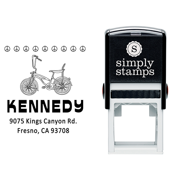 Kennedy 1970's Peace Bicycle Address Stamp Body and Design