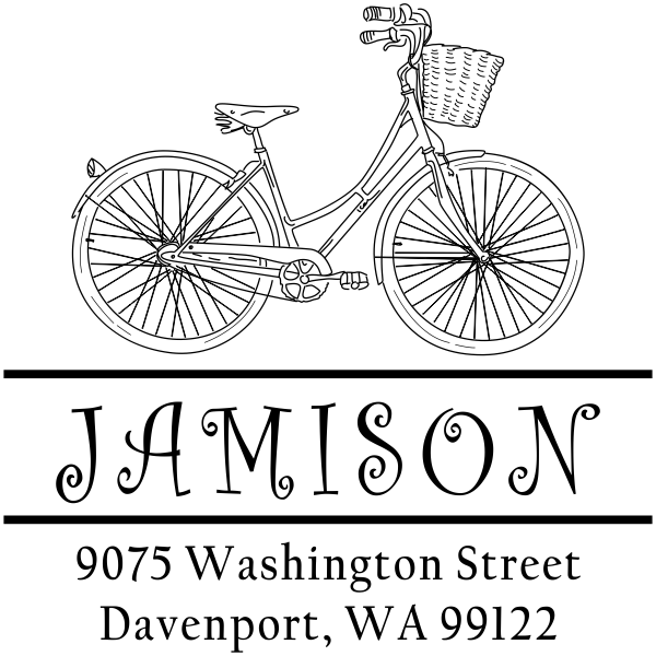 Small Jamison Bicycle Basket Address Stamp