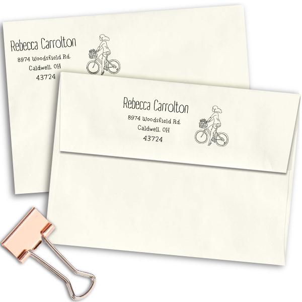 Carrolton Woman Bicycle Address Stamp Imprint Example