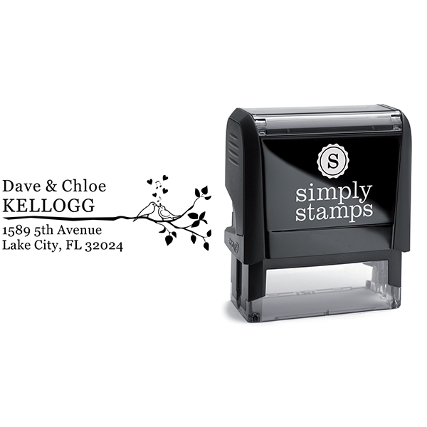 Singing Love Birds on a Branch Address Stamp Body and Design