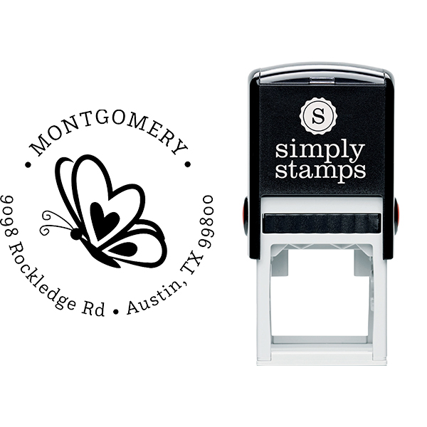 Butterfly Hearts Return Address Stamp Body and Design
