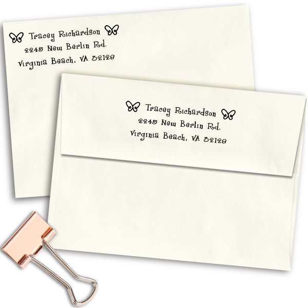 Spring Butterfies Return Address Stamp Imprint Example