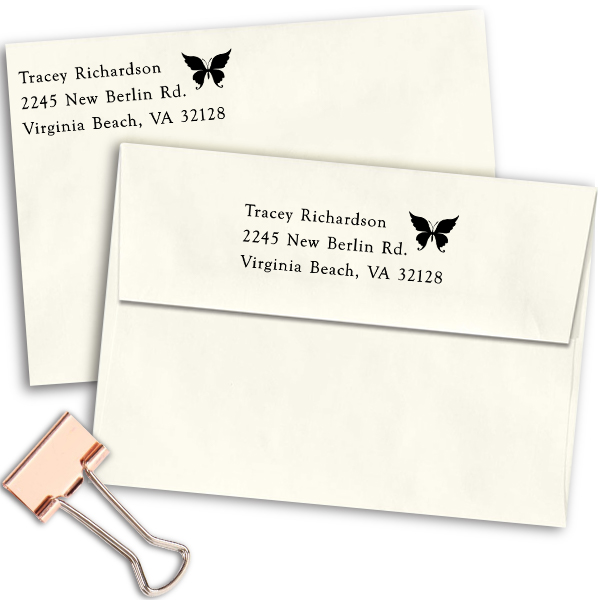 Pretty Butterfly Return Address Stamp Imprint Example