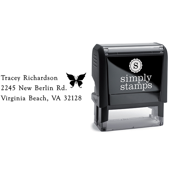 Pretty Butterfly Return Address Stamp Body and Design