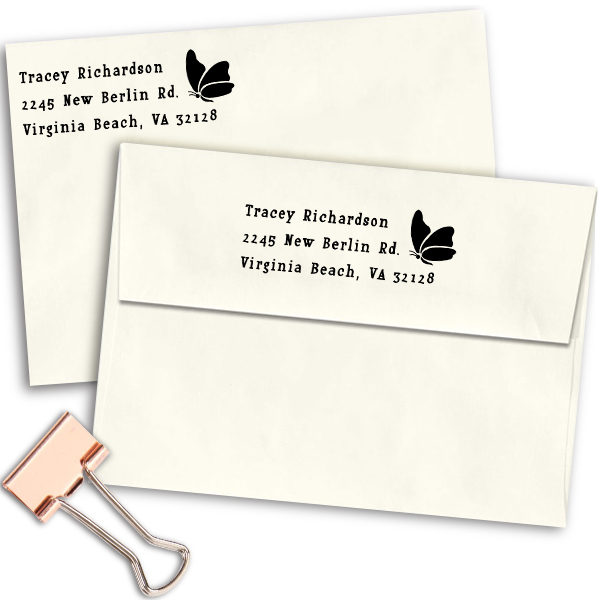 Perching Butterfly Return Address Stamp Imprint Example