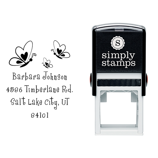 Butterfly Family Return Address Stamp Body and Design