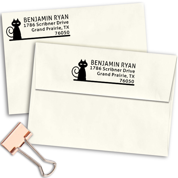 Curly Tail Cat Address Stamp Imprint Example