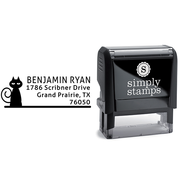 Curly Tail Cat Address Stamp Body and Design