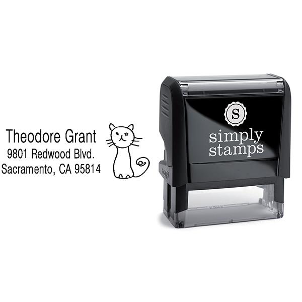 Hand Drawn Cat Address Stamp Body and Design