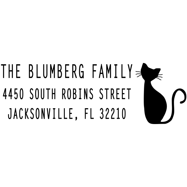 Thin Feline Cat Address Stamp design