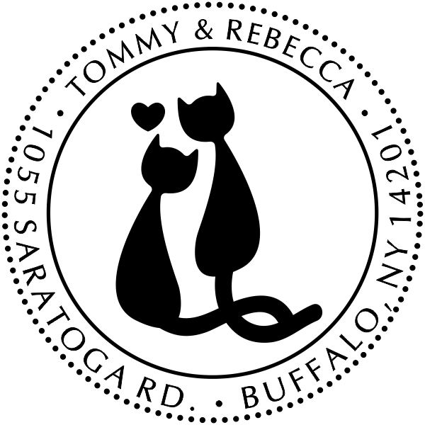 Cat Mates In Love With Heart Address Stamp