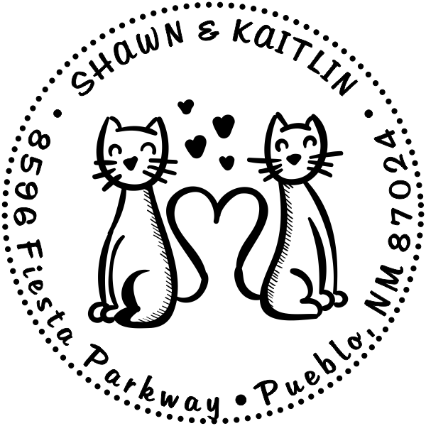 Heart Tail Cats Address Stamp