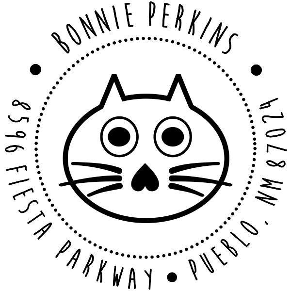 Big Eyed Cat Round Address Stamp design