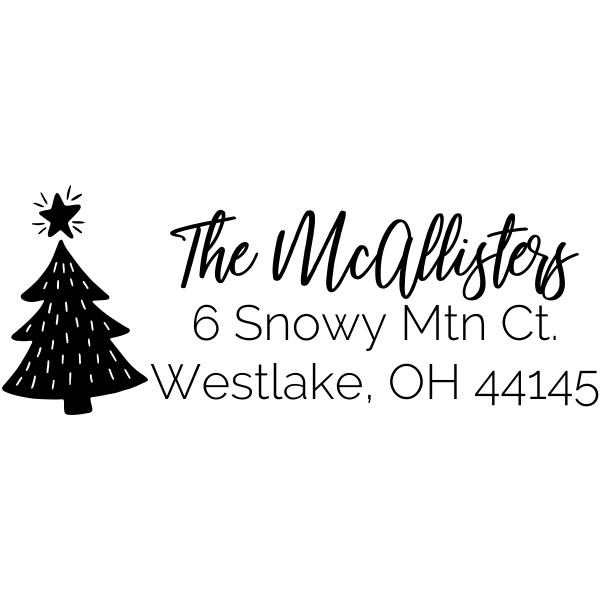 Christmas Tree Holiday Address Stamp