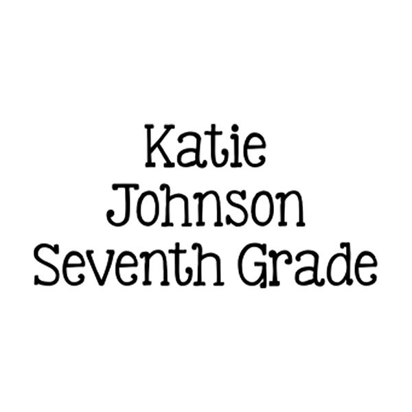 School 3 Line Clothing Stamp